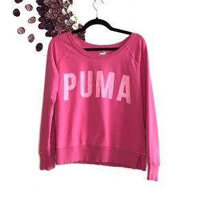 Puma Pink Spellout Pullover Crew Neck Sweatshirt